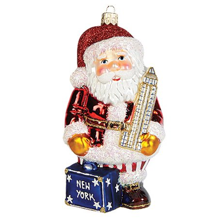 - New York City Santa Polish Blown Glass Christmas Ornament NYC Decoration Empire