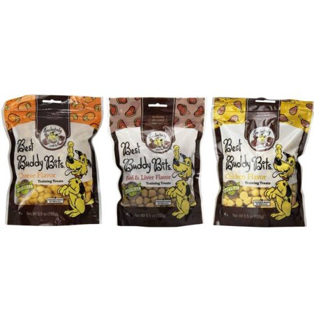 3-Flavor Exclusively Dog Variety Bundle Best Buddy Bits All-Natural Training Treats in Cheese, Chicken, and Beef &