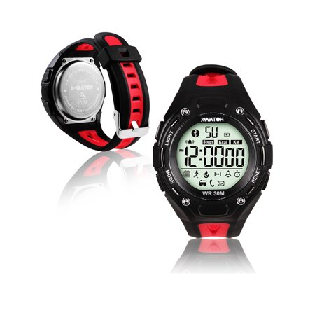 Indigi® Bluetooth 4.0 Waterproof Sports Watch + SMS/Call Notify + Pedometer + Remote Shutter + 1 Year Battery (Red)