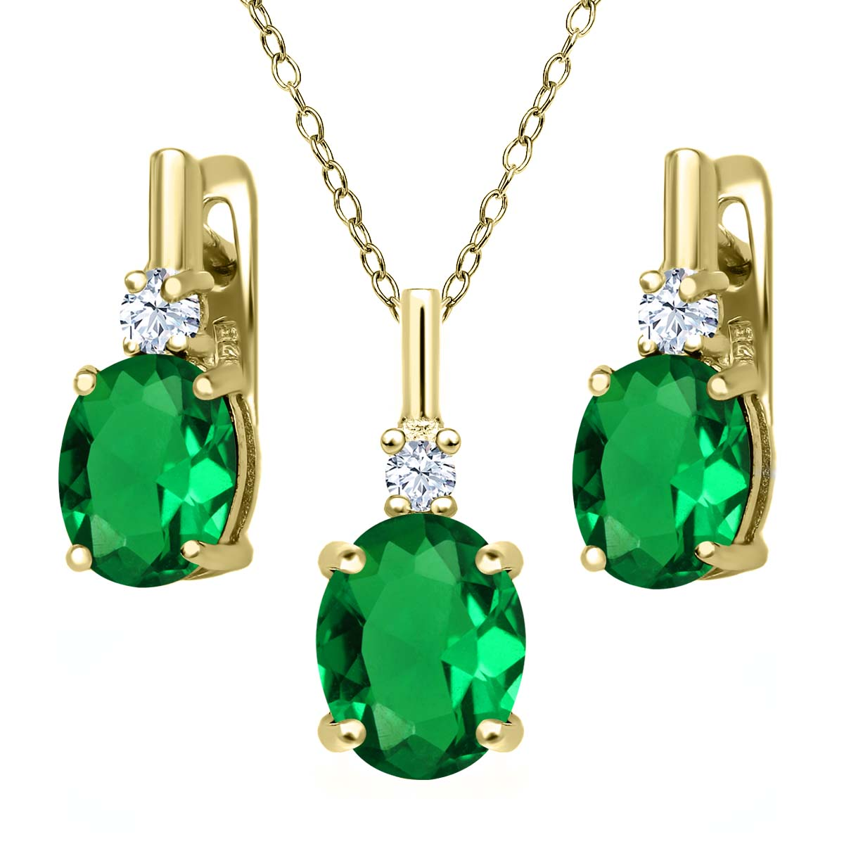 6.95 Ct Green Simulated Emerald White Created Sapphire 18K Yellow Gold Plated Silver Pendant Earrings Set by