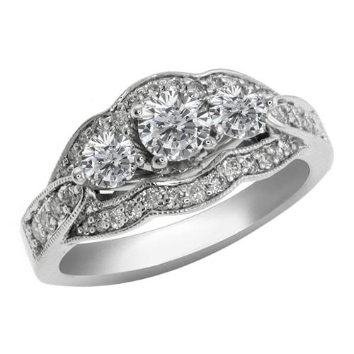 1.22 CT 3 -Stone Round Diamond Bridal 14K White Gold Ring Size 5-9