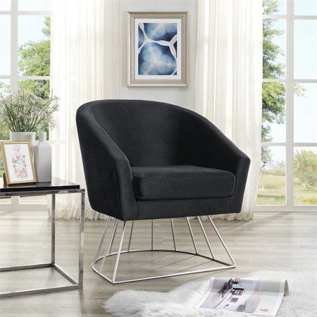 Leo Black Velvet Accent Chair Silver Metal Base Barrel