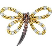Gold and Diamonds FPR1130DBA-14K 0.26CT-DIA BUTTERFLY PENDANT- Size 7