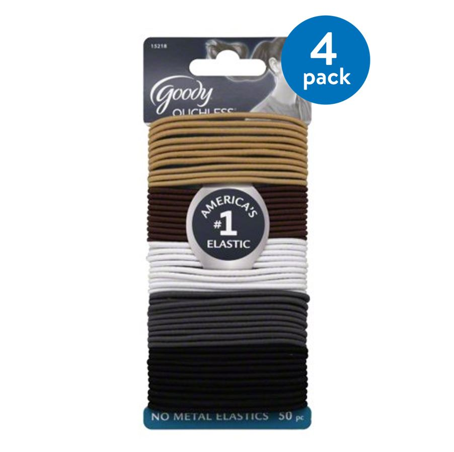 (4 Pack) Goody Ouchless No-Metal Elastics, 50 count