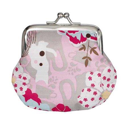 Ganz Flower Coin Purse  Pink Flowers & Birdcage Flower Clasp Clutch Wallet
