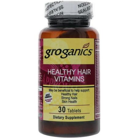 6 Pack - Groganics Healthy Hair Vitamins Dietary Supplement, 30