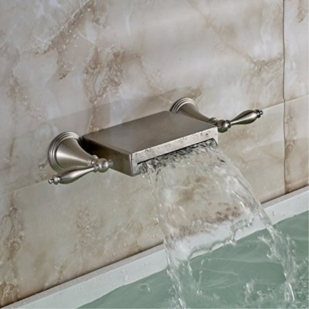 Spout Knob - oulantron wall mounted 3 holes bathtub mixer faucet dual knobs waterfall spout tap brushed nickel