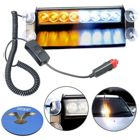 HQRP 8-LED Car / Truck Visor Dashboard Emergency Strobe Light White / Amber Lamp Bar plus HQRP Coaster