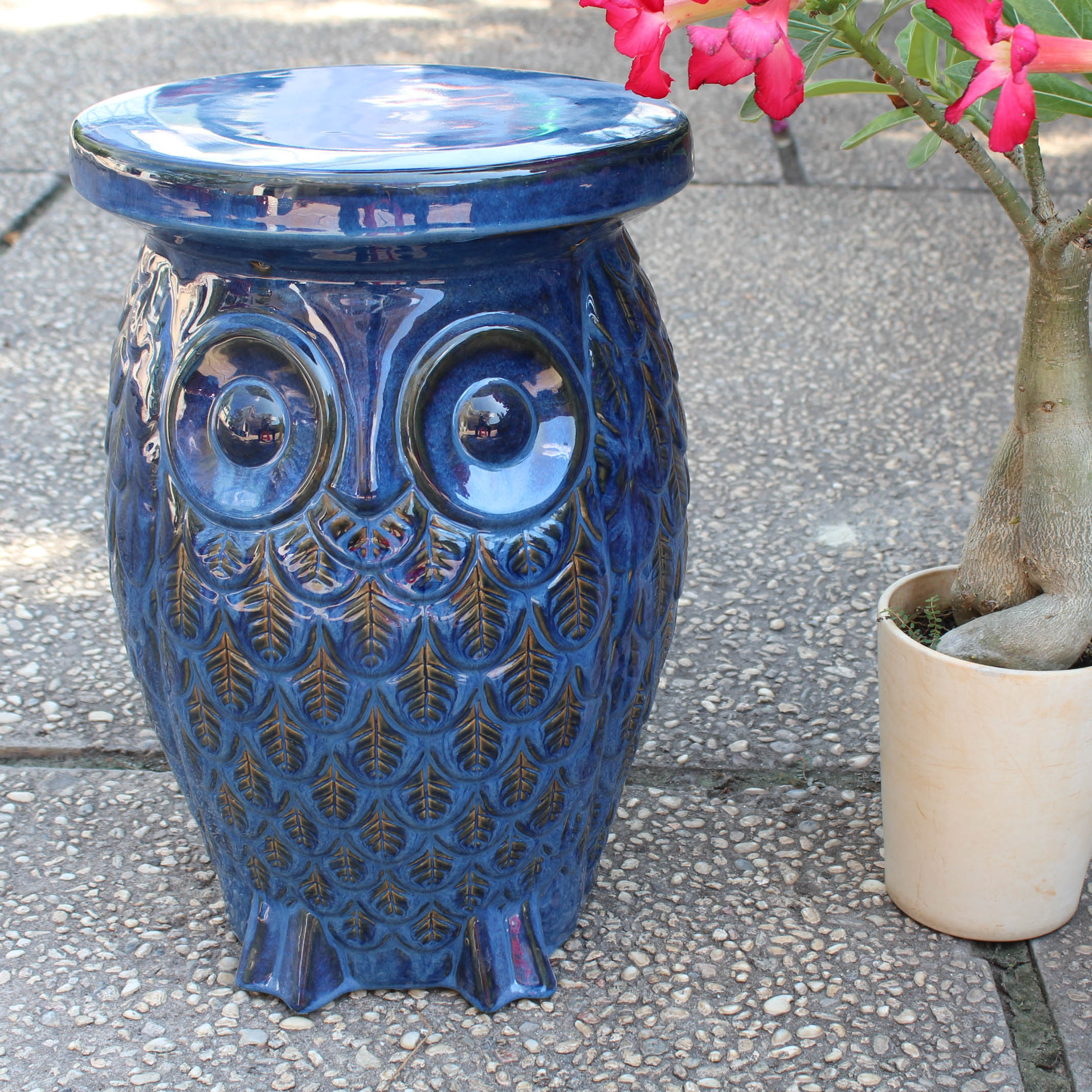 Wise Old Owl Ceramic Garden Stool