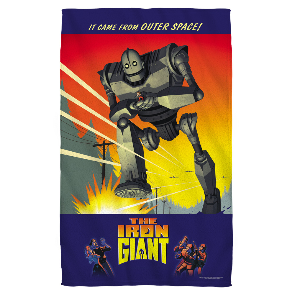 Iron Giant It Came From Space Bath Towel White 27X52