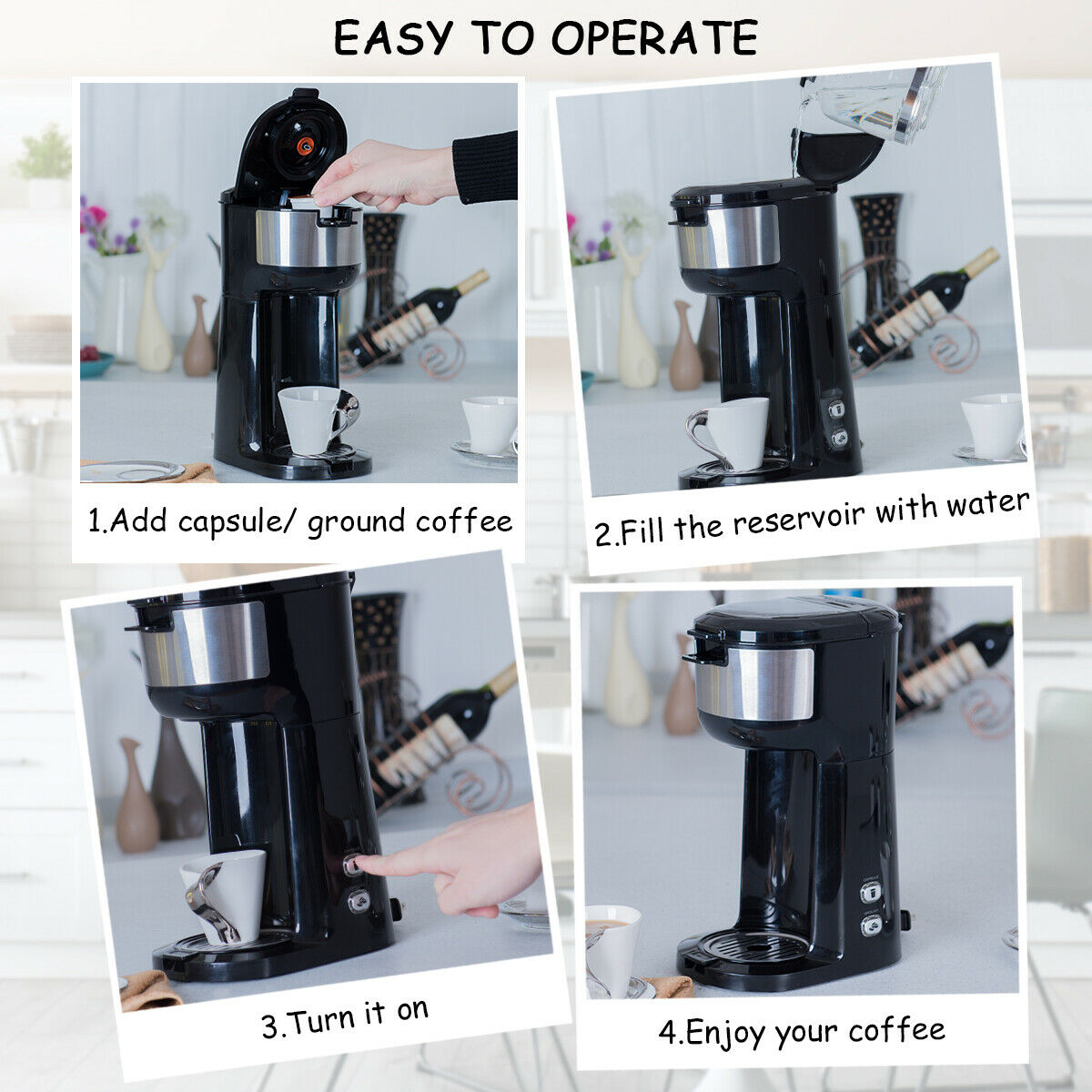 ec8306428d3 Gymax 2 in 1 Portable Coffee Maker Coffee Machine for Ground Coffee and  Coffee Capsule
