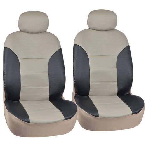 Motor Trend Two Tone PU Leather Car Seat Covers, Classic Accent, Premium Leatherette, Front Pair