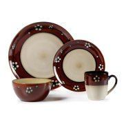 Pfaltzgraff Floral 16-Piece Round Dinnerware Stoneware Set, Red and Beige