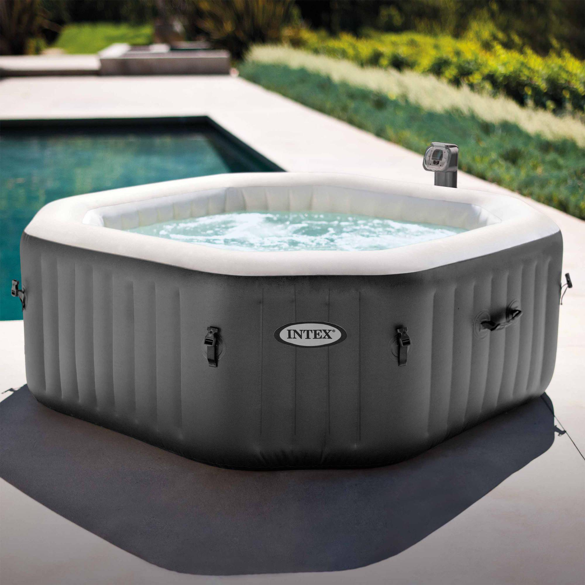 Intex 120 Bubble Jets 4-Person Octagonal Portable Inflatable Hot Tub ...
