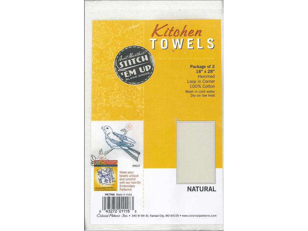 Aunt Martha's Stitch 'Em Up Hemmed Kitchen Towels, 18 by 28-Inch, Natural, 2-Pack by Colonial Patterns Inc.