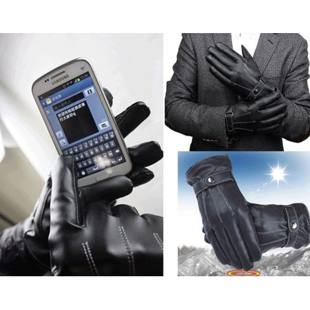 H2o Motorcycle Gloves - Intbuying Men Black Leather Winter Warm Motorcycle Biker Full Finger Touch Screen Gloves #241055
