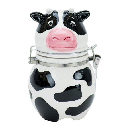 Boston Warehouse Udderly Cow Hinged Jar, Hand Painted Ceramic Hand Painted Hinged