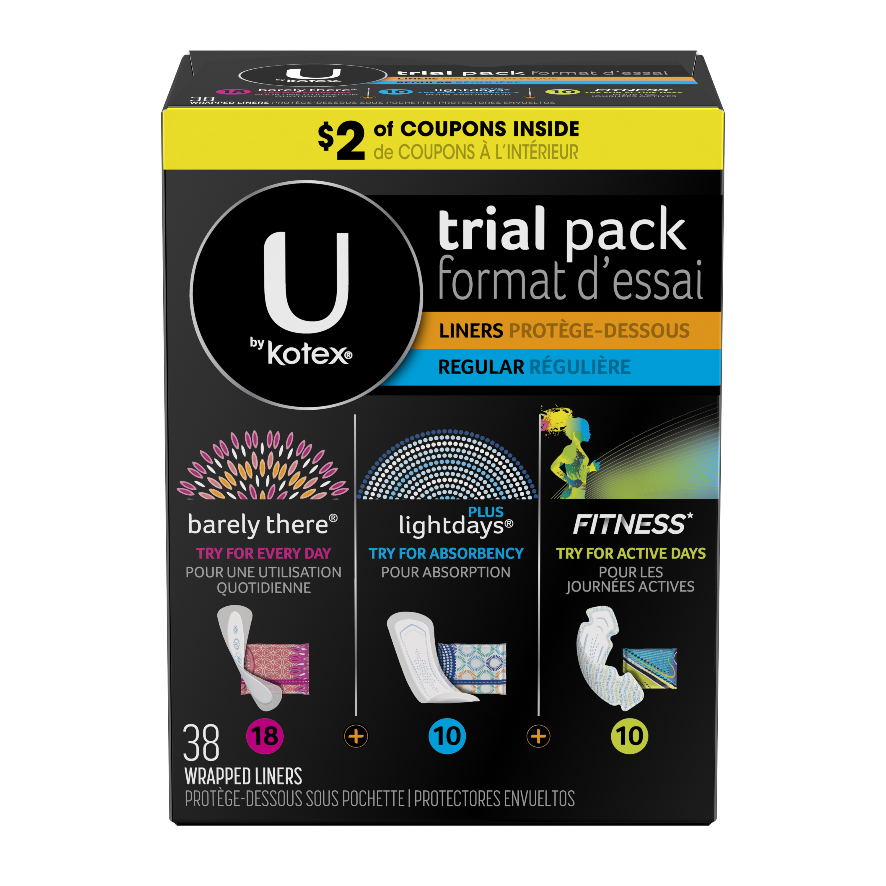 U by Kotex Barely There Panty Liners & Click Tampons Travel Pack, Regular Absorbency