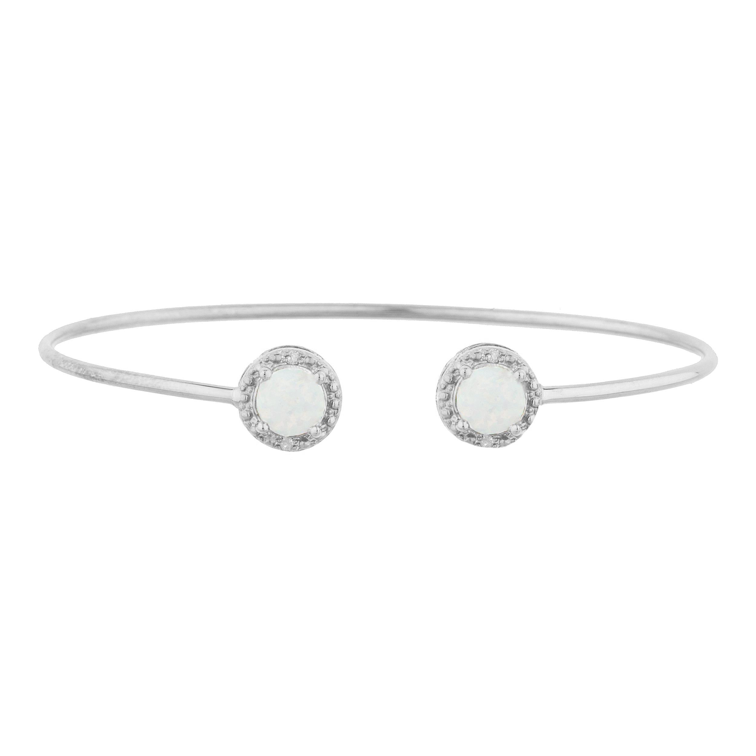 Genuine Opal & Diamond Round Bangle Bracelet .925 Sterling Silver by Tourmaline Bracelets