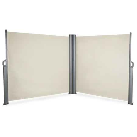 BELLEZE 19.6 x 5.2FT Patio Retractable Privacy Wall Corner Double Folding Screen Dividers with Steel Support Pole, Biege ()