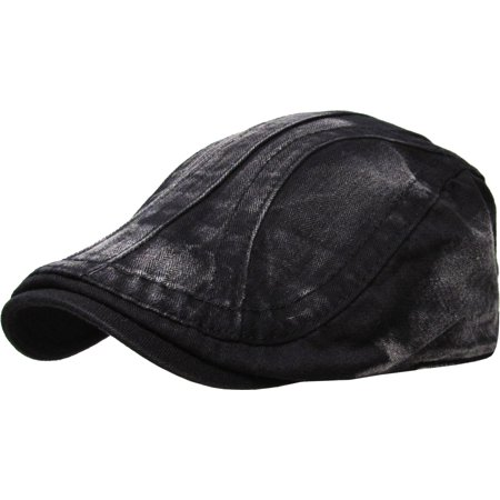 Solid Washed Gatsby Cap Mens Denim Hat Golf Driving Summer Cabbie Newsboy - Novelty Golf Hats