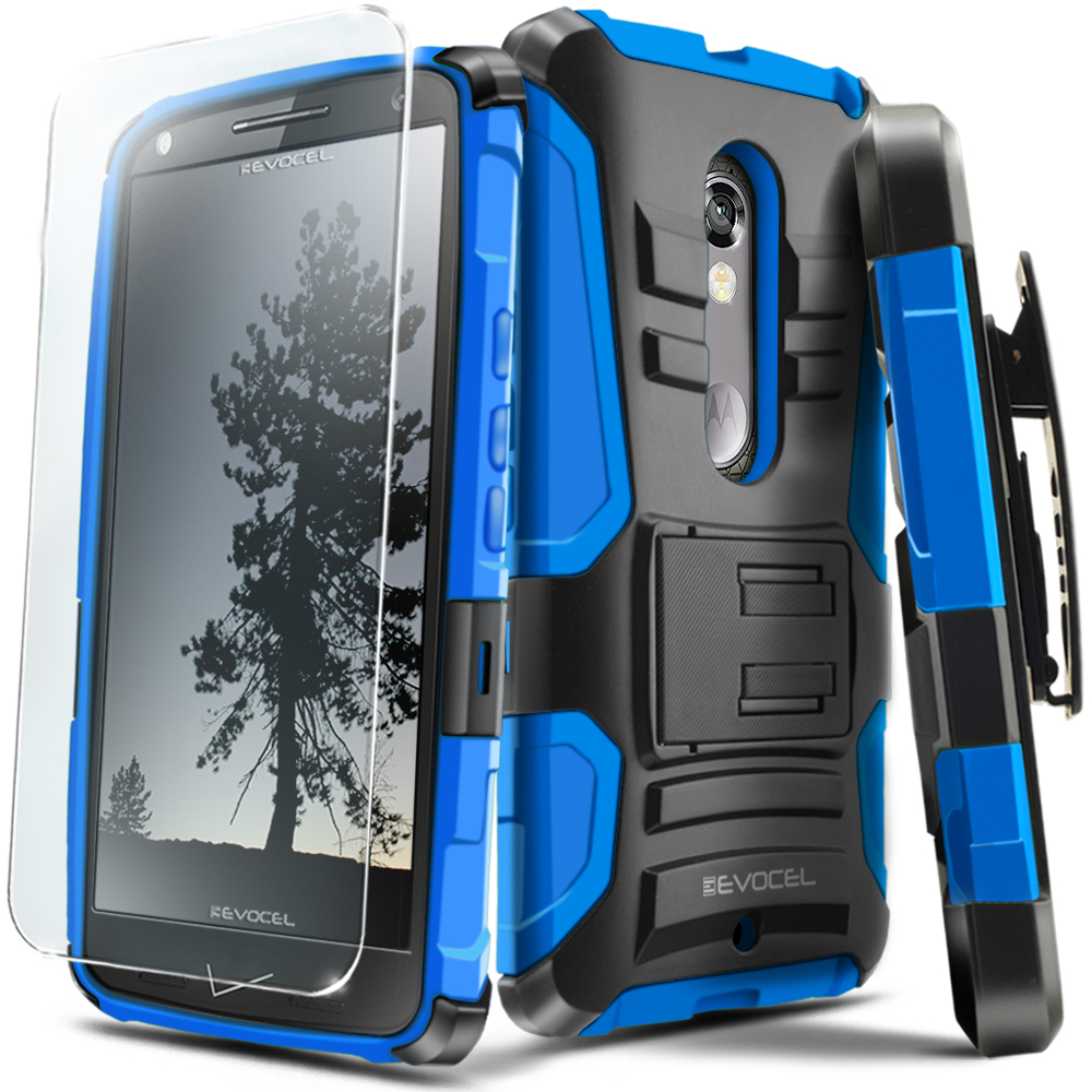 DROID Maxx 2 Case, Evocel® Rugged Holster Dual Layer Case [Kickstand] [Belt Swivel Clip] HD Screen Protector For DROID Maxx 2 XT1565/ Moto X Play (2015 Release), Blue (EVO-MOTXT1565-AB202)