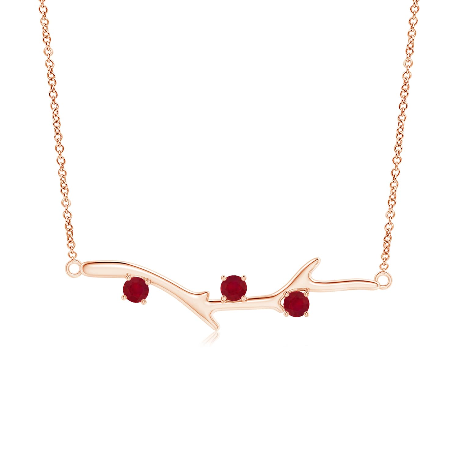 """0.45 carat Round Brilliant Prongs Set Ruby Pendant Necklace in 14K Rose Gold, 18"""" Inches, July Birthstone Pendant... by Angara.com"""