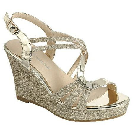 Forever FQ22 Women's Glitter Strappy Wrapped Wedge Heel Platform (Heel Strappy Platform Sandal)