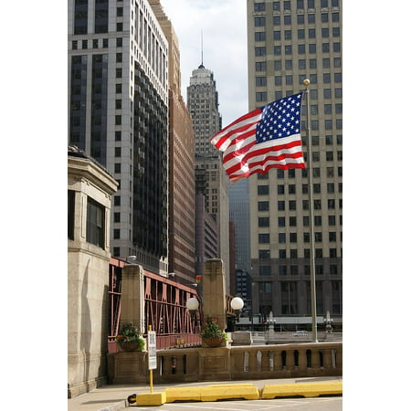Laminated Poster American Flag Chicago Bridge Wells Street Poster Print 24 X 36