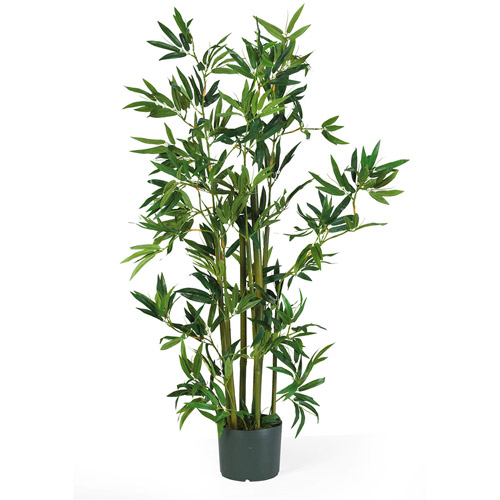 Nearly Natural 4 ft. Artificial Bamboo Silk Plant, Green