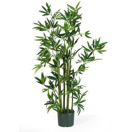 Nearly Natural 4-ft. Artificial Bamboo Silk Plant, Green (Tropical Indoor Plants)