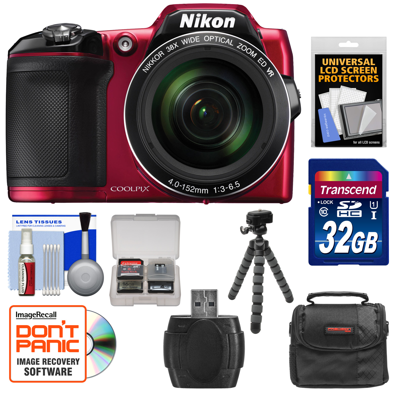 Nikon Coolpix L840 Wi-Fi Digital Camera (Red) - Factory Refurbished with 32GB Card + Case + Flex Tripod + Kit