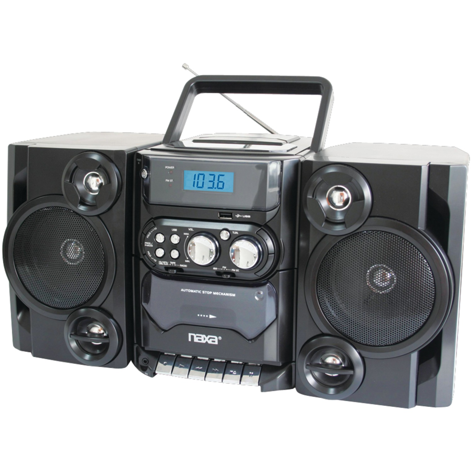 Naxa NPB428 Portable CD/MP3 Player with AM/FM Radio, Detachable Speakers, Remote & USB Input
