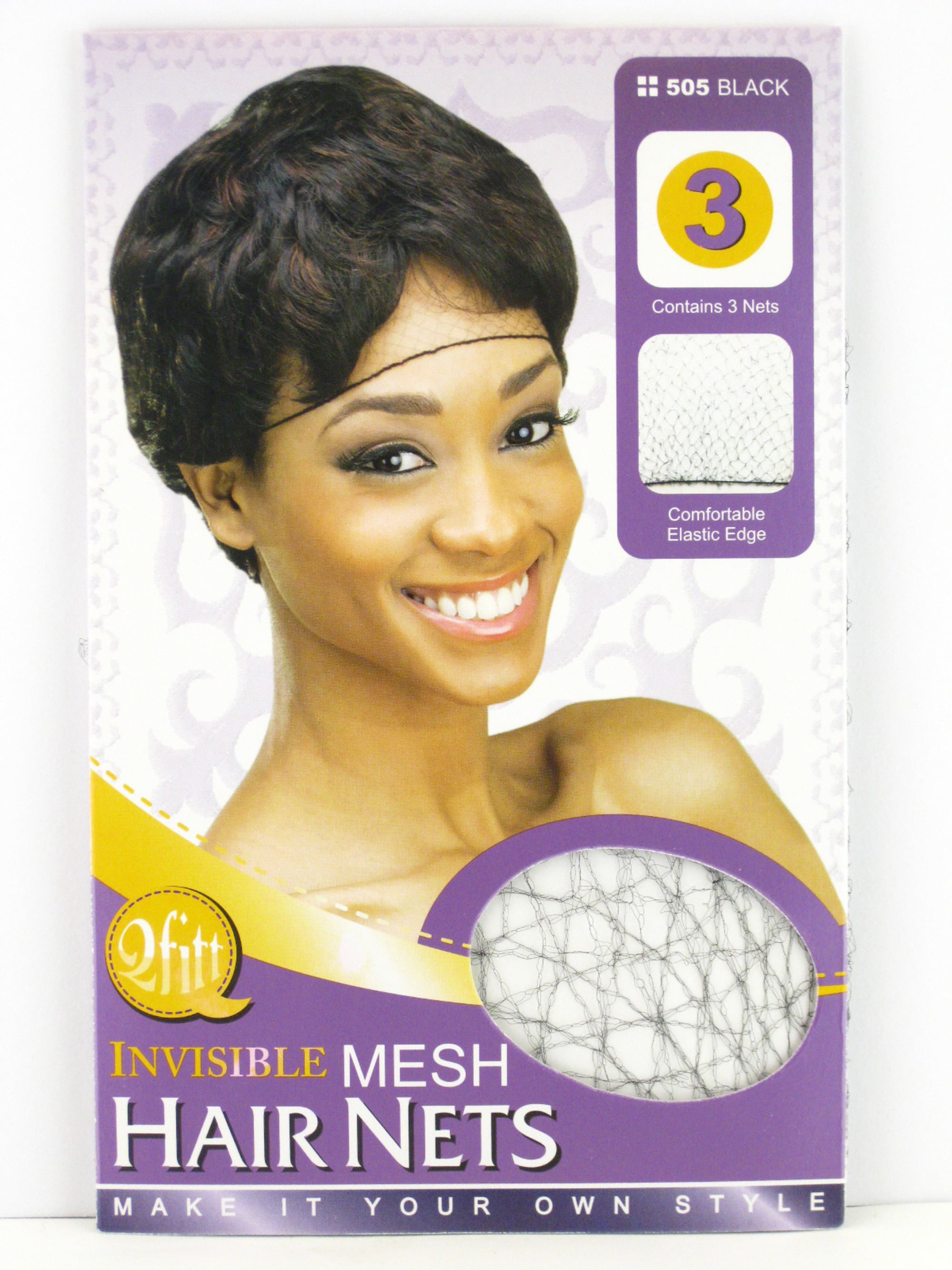 Qfitt Black Invisible Mesh Hair Nets 3 Pcs Walmart