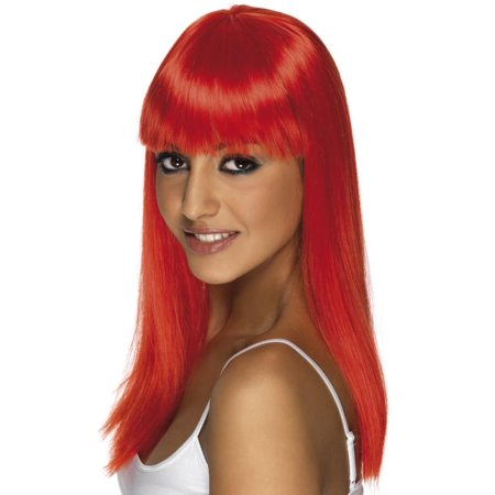 Long Straight Neon Red Glamourama 80's Punk Rock Adult Costume Wig](Red Chucky Wig)