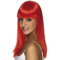 Long Straight Neon Red Glamourama 80's Punk Rock Adult Costume Wig
