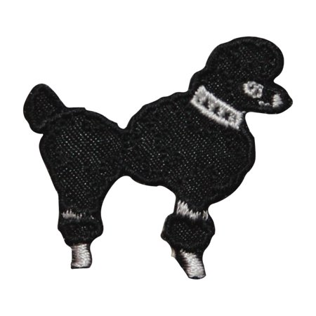 ID 8487A Black Poodle Dog Patch Fancy Show Puppy Embroidered Iron On - Poodle Skirt Applique