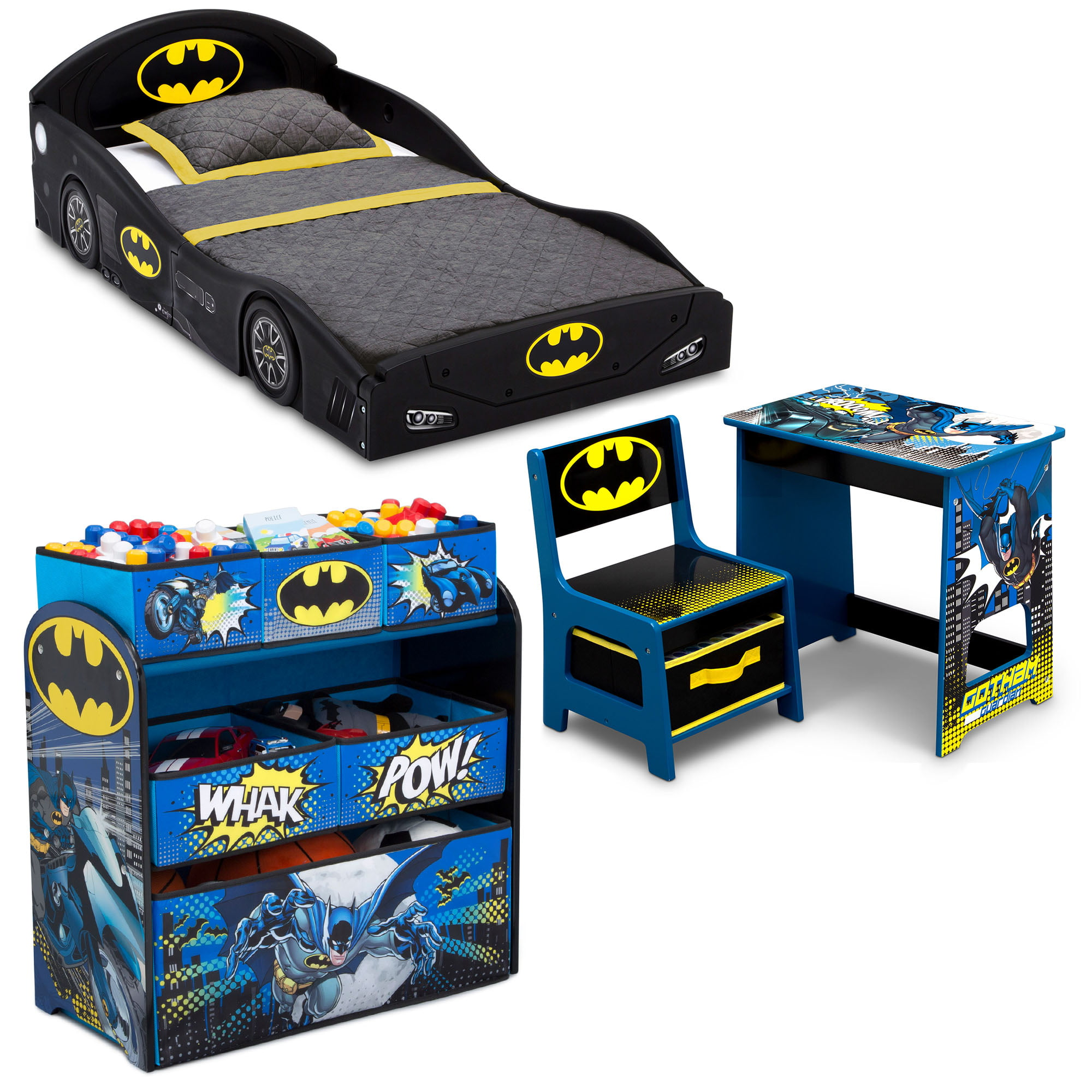 Batman 4 Piece Room In A Box Bedroom Set By Delta Children Includes Sleep Play Toddler Bed 6 Bin Design Store Toy Organizer And Desk With Chair Walmart Com Walmart Com