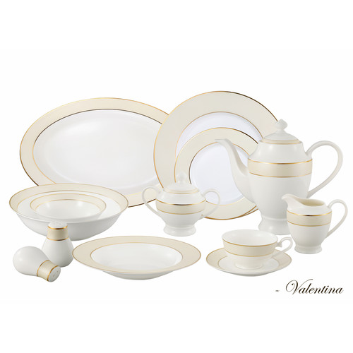 Lorren Home Trends Bone China 57 Piece Dinnerware Set, Service for 8 by Lorenzo