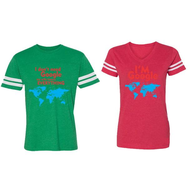 I Don' T Need Google My Wife knows Everything I 'm Google Matching Couple Cotton Jerseys (Men Green / Women Red) (Men M / Women XXL)