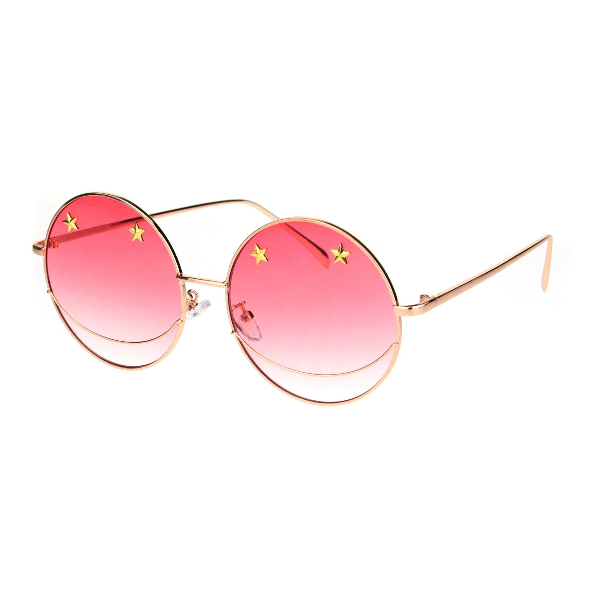 dea68413f9 Womens hippie smile round circle lens pimp retro metal sunglasses rose gold  red jpg 2000x2000 Red