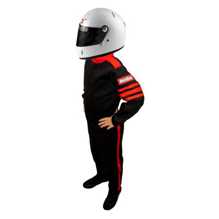RaceQuip 1959995 One Piece Racing Driver Fire Suit SFI 3.2A/ 1; BLACK Youth / Jr (1 Piece Motorcycle Suits)