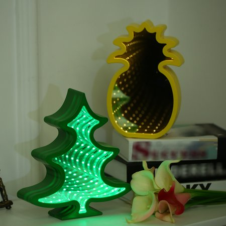 Mirror Led Table Night Light Marquee Star Heart Bell Pineapple Christmas Tree Flower Home Party Decoration 3d Desk Lamp Tree