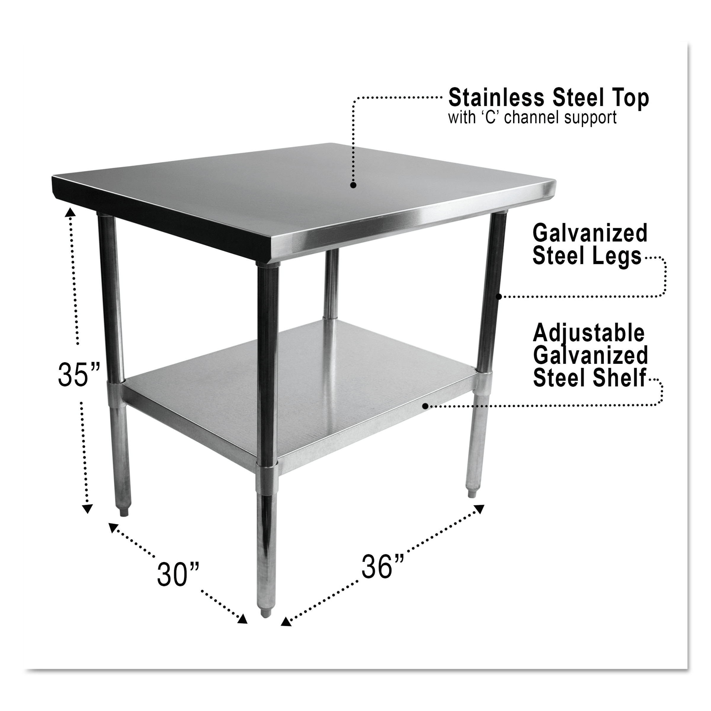 "Alera NSF Stainless Steel Commercial Kitchen Prep & Work Table - Multiple Sizes Available - 36"" x 30"" x 35"" - Silver"