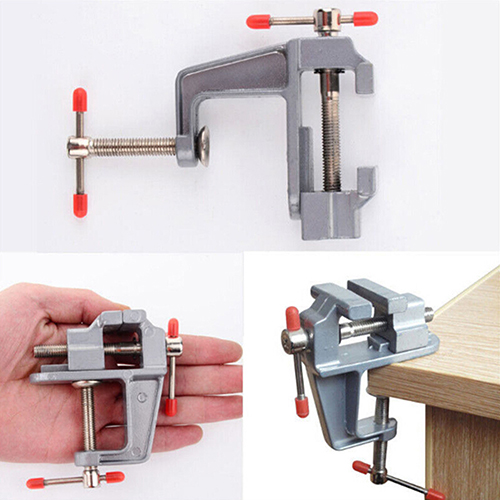 Girl12Queen 3.5 Inch Aluminum Small Jewelers Hobby Clamp On Table Bench Vise Mini Tool Vice by 4.3