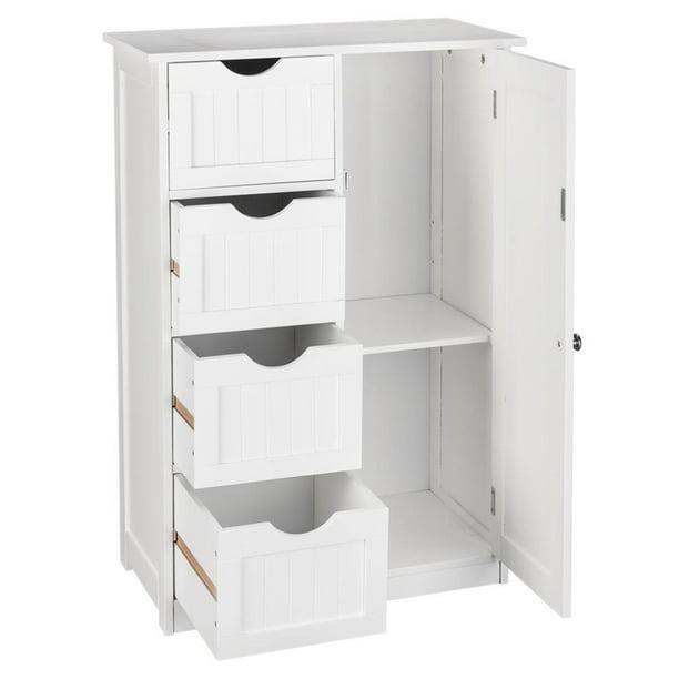 Ktaxon Bathroom Floor Cabinet Wooden, 4 Drawer Bathroom Cabinet