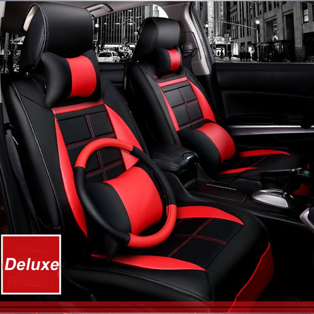 Universal Deluxe Pu Leather 5 Seat Car Sport Styling Black Red