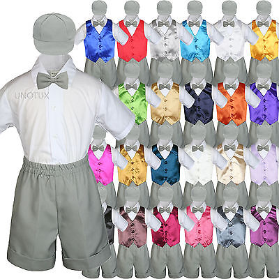Boys Toddler Formal Vest Shorts Suits Satin Vest Gray Bow Tie Hat 5pc Set S-4T