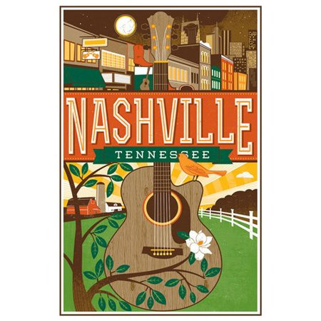 Vintage Art NASHVILLE Tennessee STICKER (tn rv visit (Top 10 Places To Visit In Nashville)