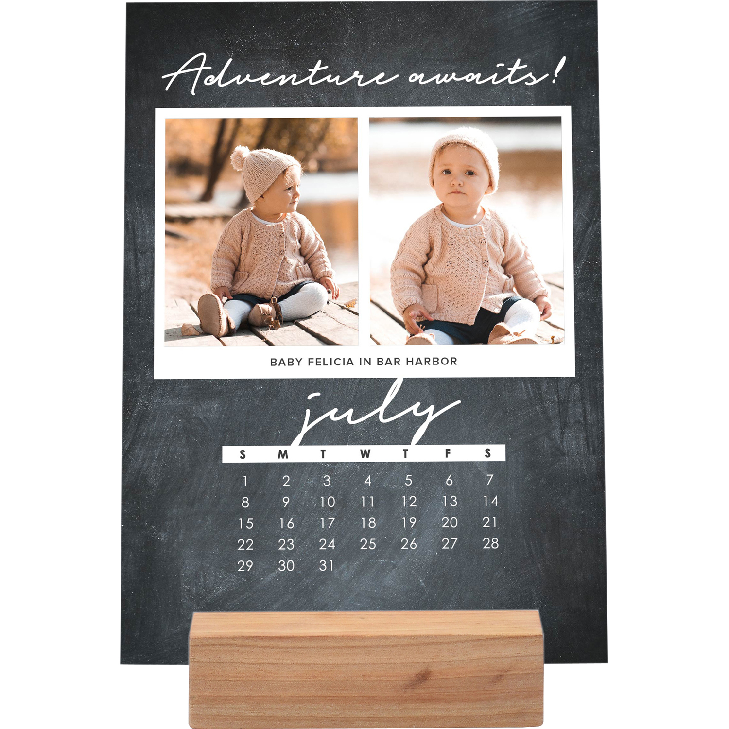 Inspirational Quote - 5x7 Personalized 12 Month Photo Desk Calendar